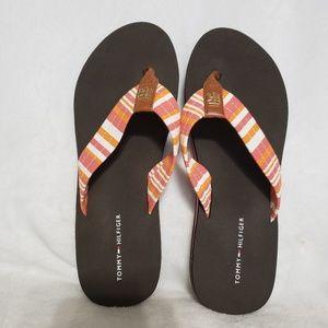Tommy Hilfiger Flip Flops Brown,  Orange Size 7